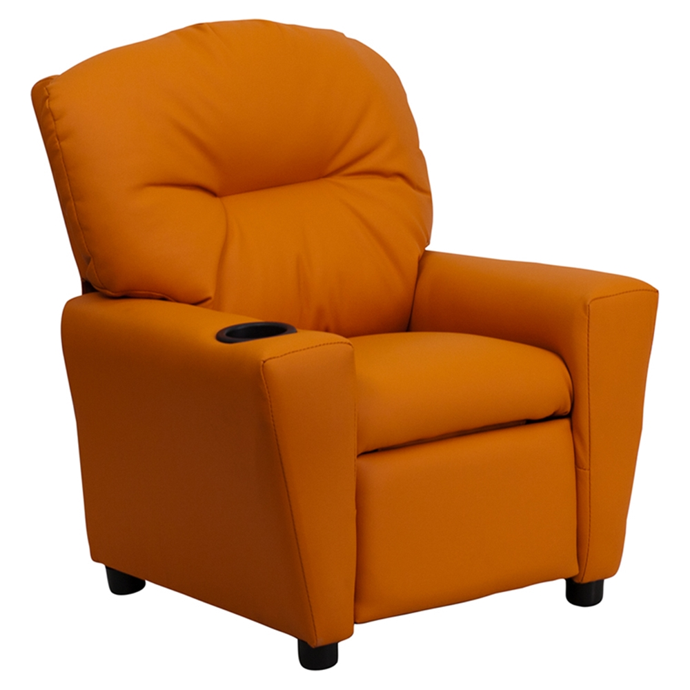 Upholstered kids recliner chair cup holder orange dcg for Kids recliner chair