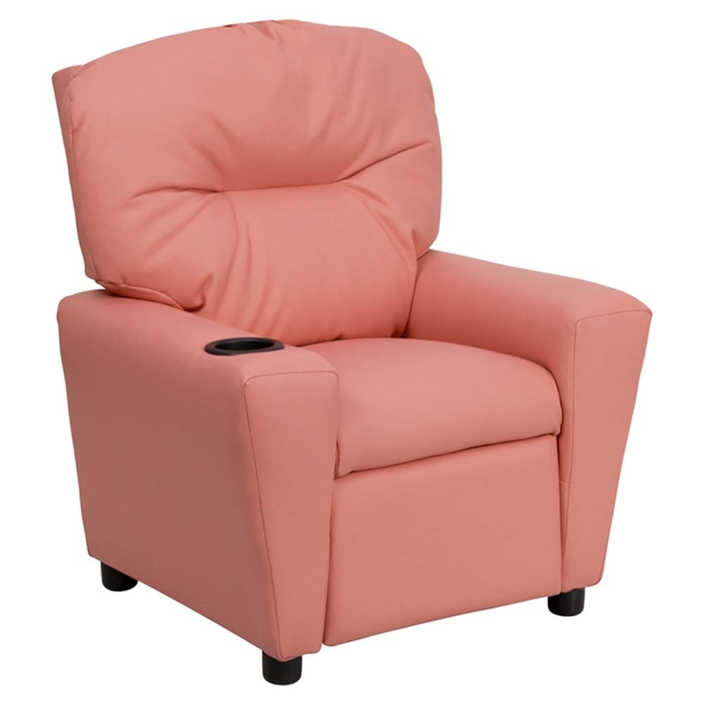 Upholstered kids recliner chair cup holder pink dcg for Kids upholstered chair