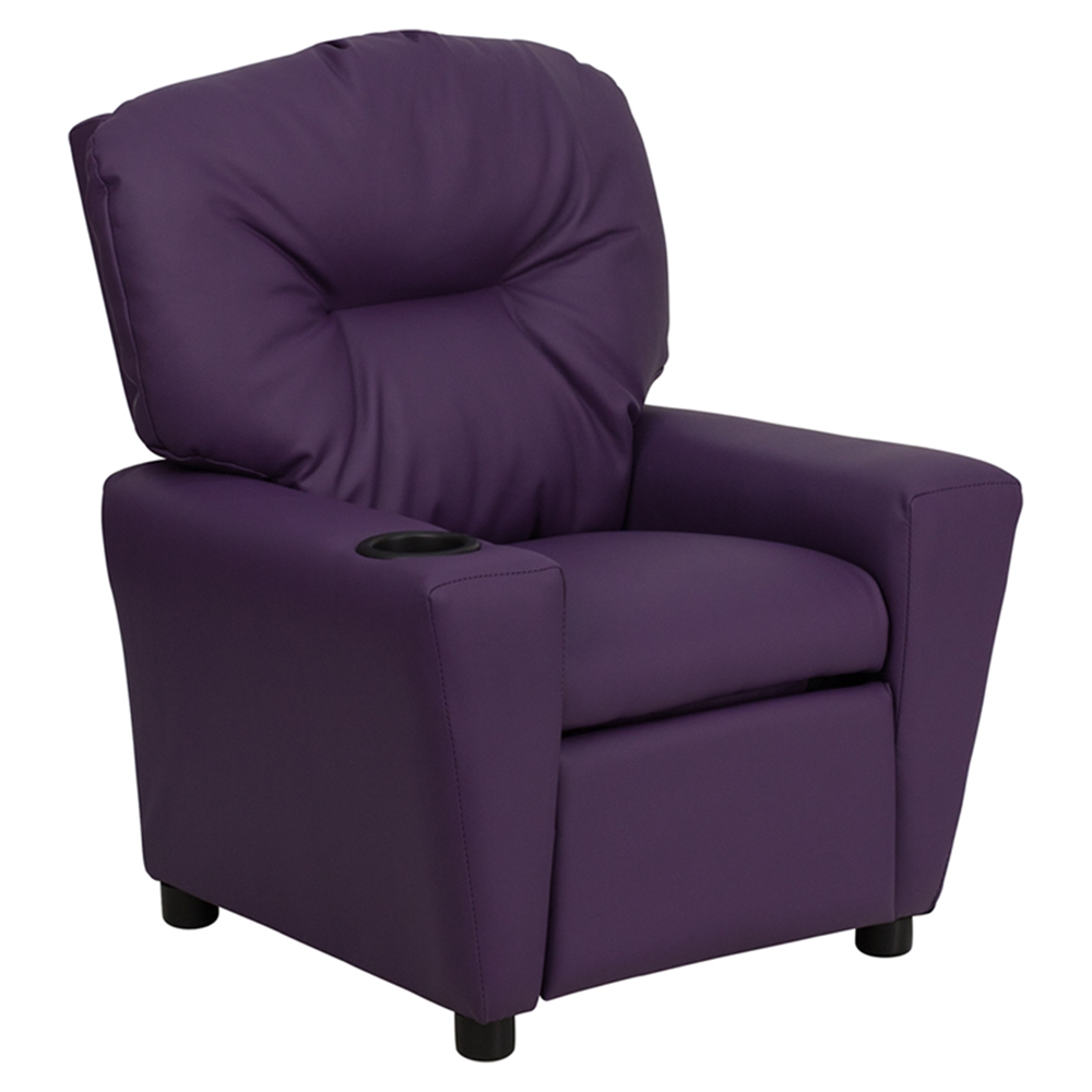 Upholstered kids recliner chair cup holder purple dcg for Toddler lounge chair