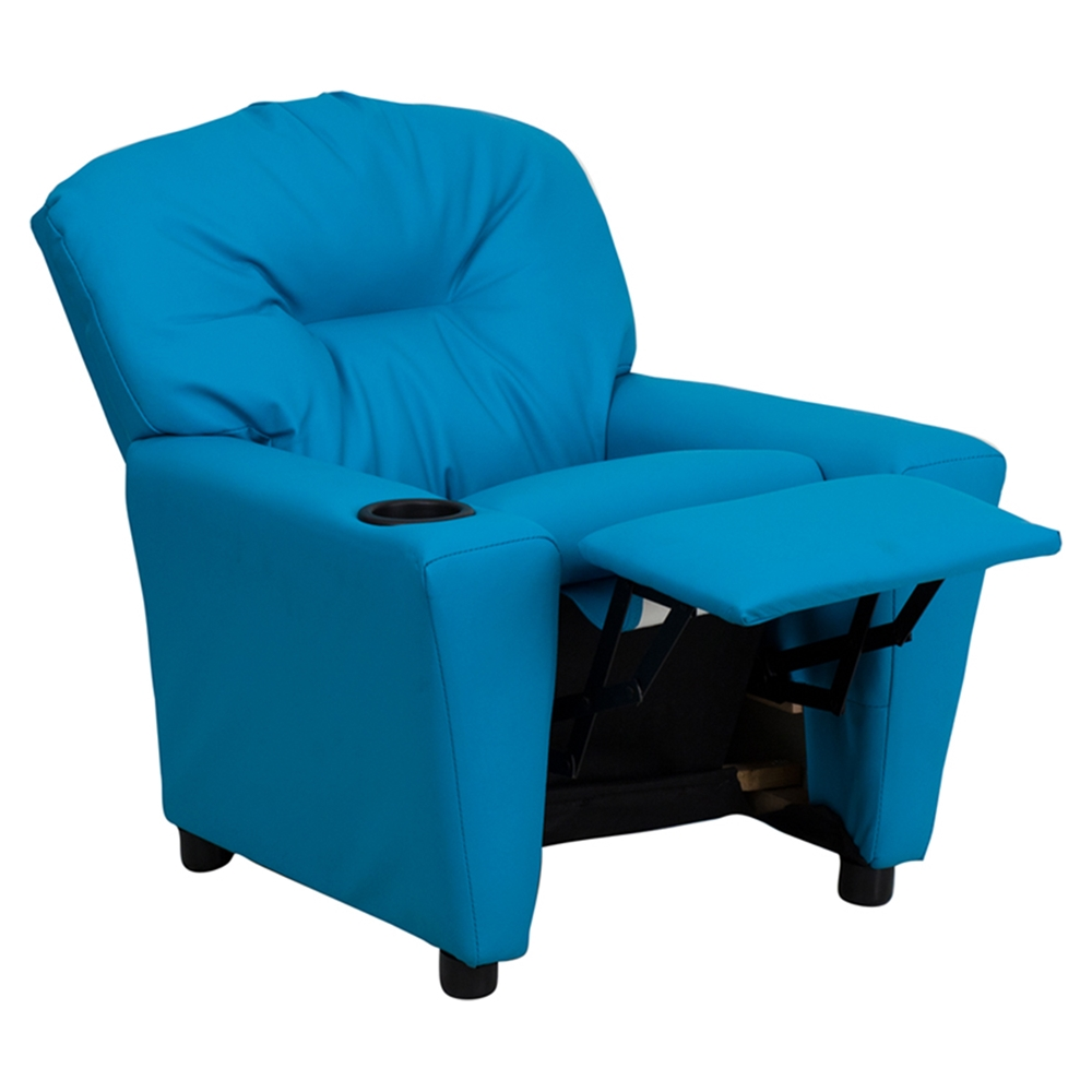 Upholstered Kids Recliner Chair Cup Holder Turquoise