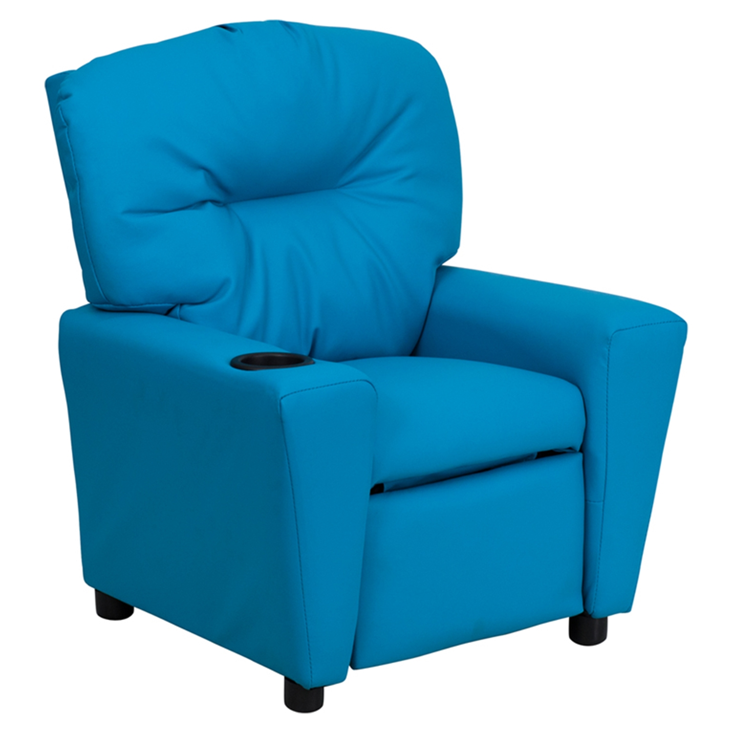 Upholstered Kids Recliner Chair   Cup Holder, Turquoise   FLSH BT 7950  ...