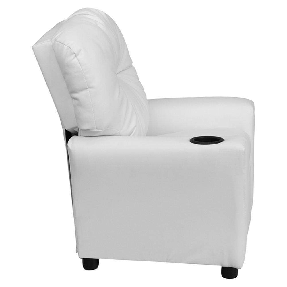 Upholstered Kids Recliner Chair Cup Holder White Dcg