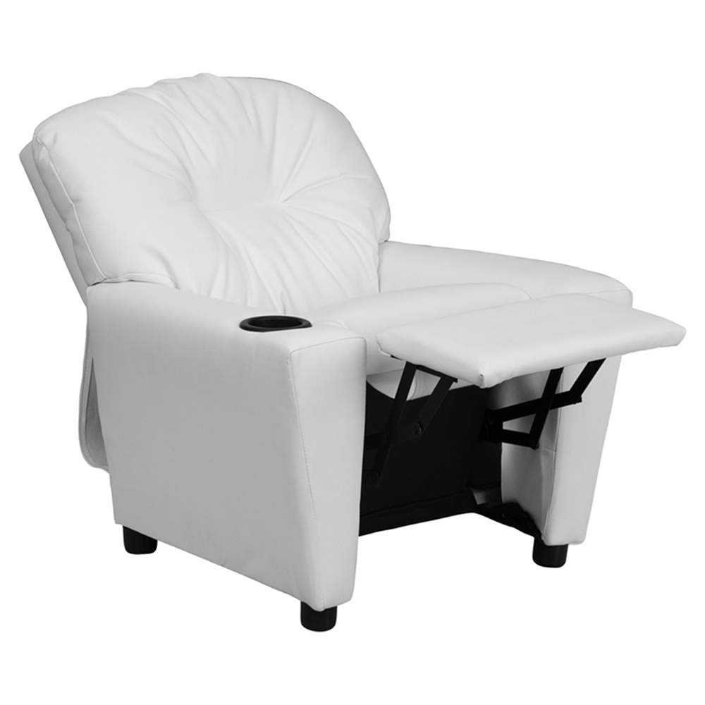 Upholstered kids recliner chair cup holder white dcg for White kids chair