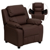Deluxe Padded Upholstered Kids Recliner - Storage Arms, Brown - FLSH-BT-7985-KID-BRN-LEA-GG
