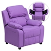 Deluxe Padded Upholstered Kids Recliner - Storage Arms, Lavender - FLSH-BT-7985-KID-LAV-GG
