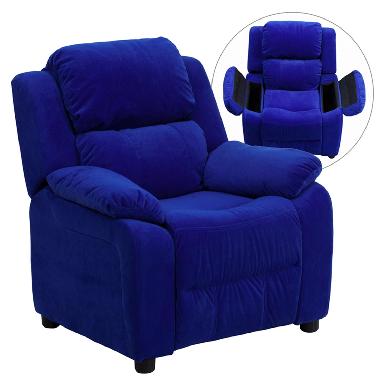Deluxe Padded Upholstered Kids Recliner   Storage Arms, Blue, Microfiber    FLSH BT ...