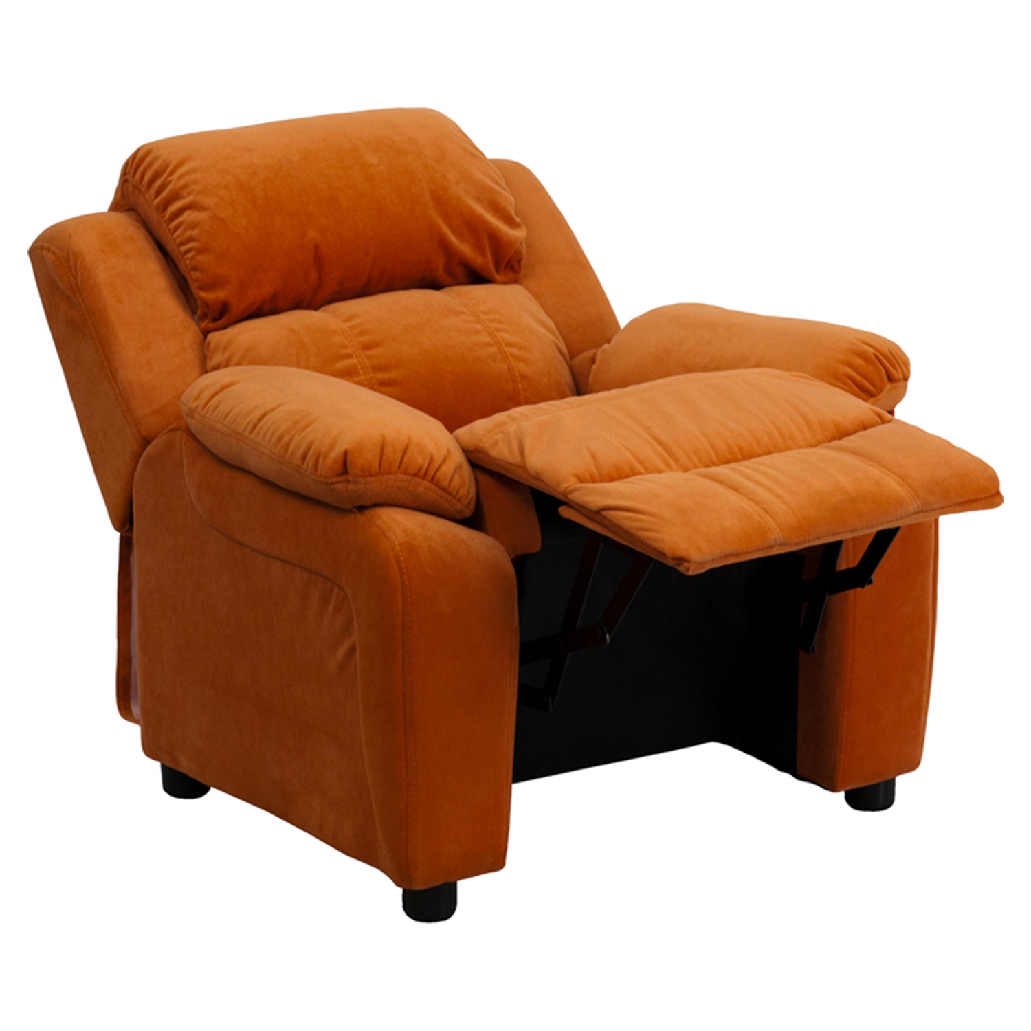... Deluxe Padded Upholstered Kids Recliner - Storage Arms Orange Microfiber - FLSH-BT  sc 1 st  DCG Stores & Deluxe Padded Upholstered Kids Recliner - Storage Arms Orange ... islam-shia.org