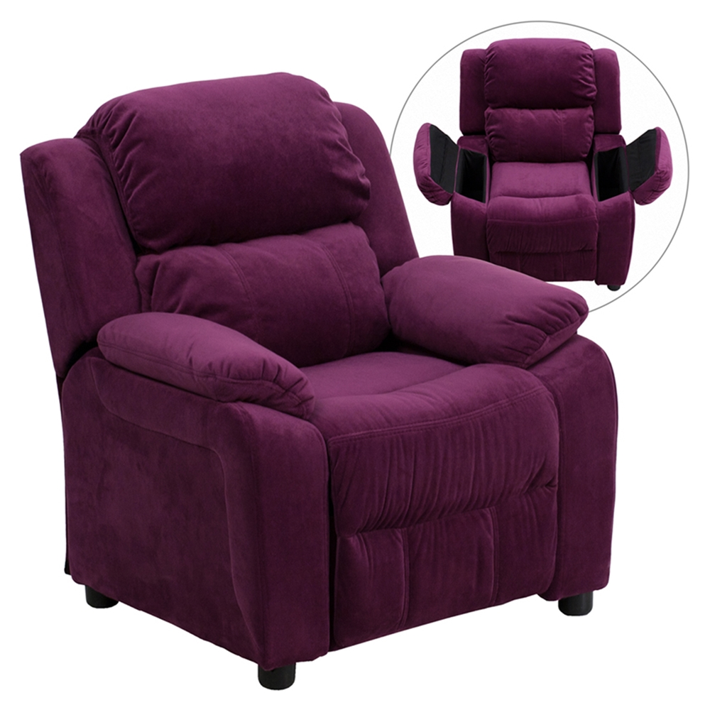 Where To Buy Cafe Kid Furniture: Deluxe Padded Upholstered Kids Recliner