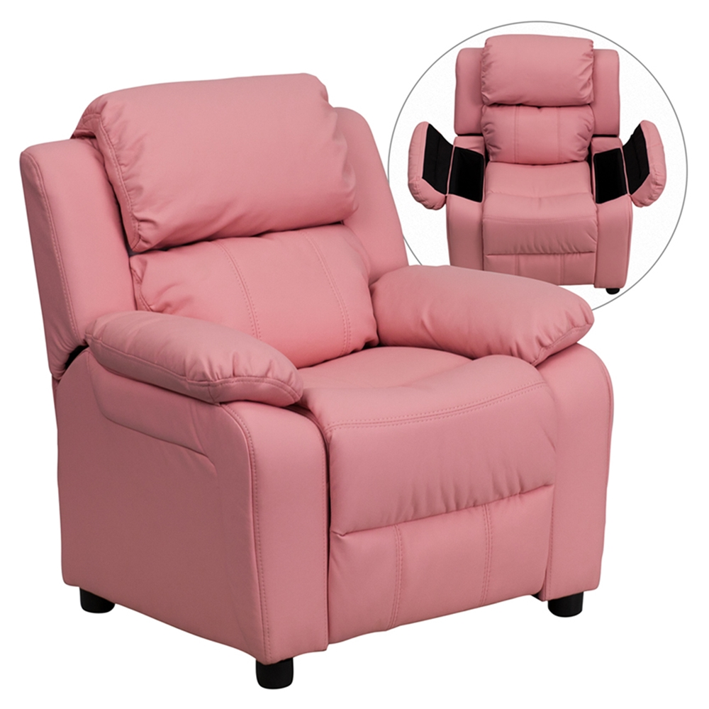 deluxe padded upholstered kids recliner storage arms pink dcg stores. Black Bedroom Furniture Sets. Home Design Ideas