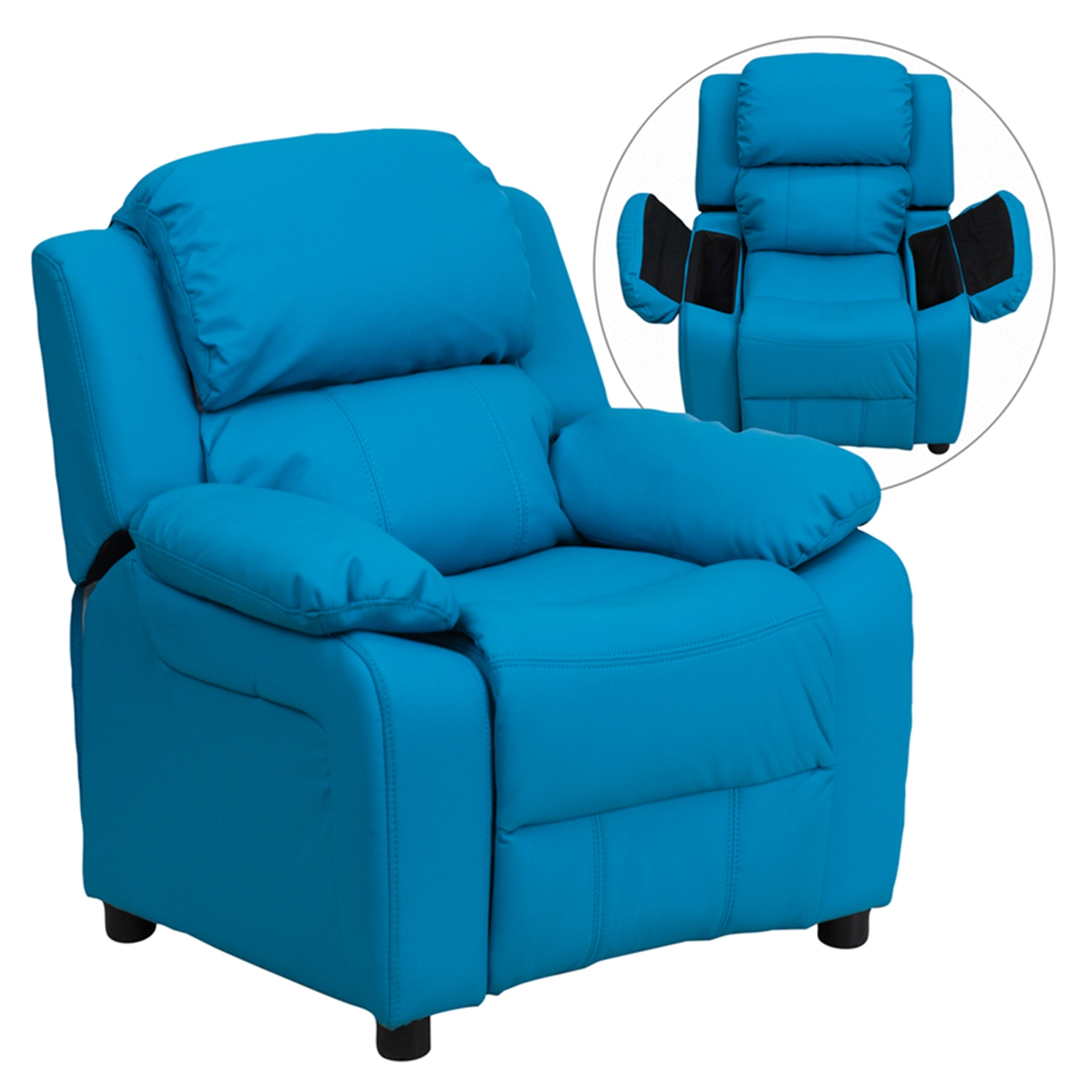Deluxe Padded Upholstered Kids Recliner   Storage Arms, Turquoise    FLSH BT 7985 ...