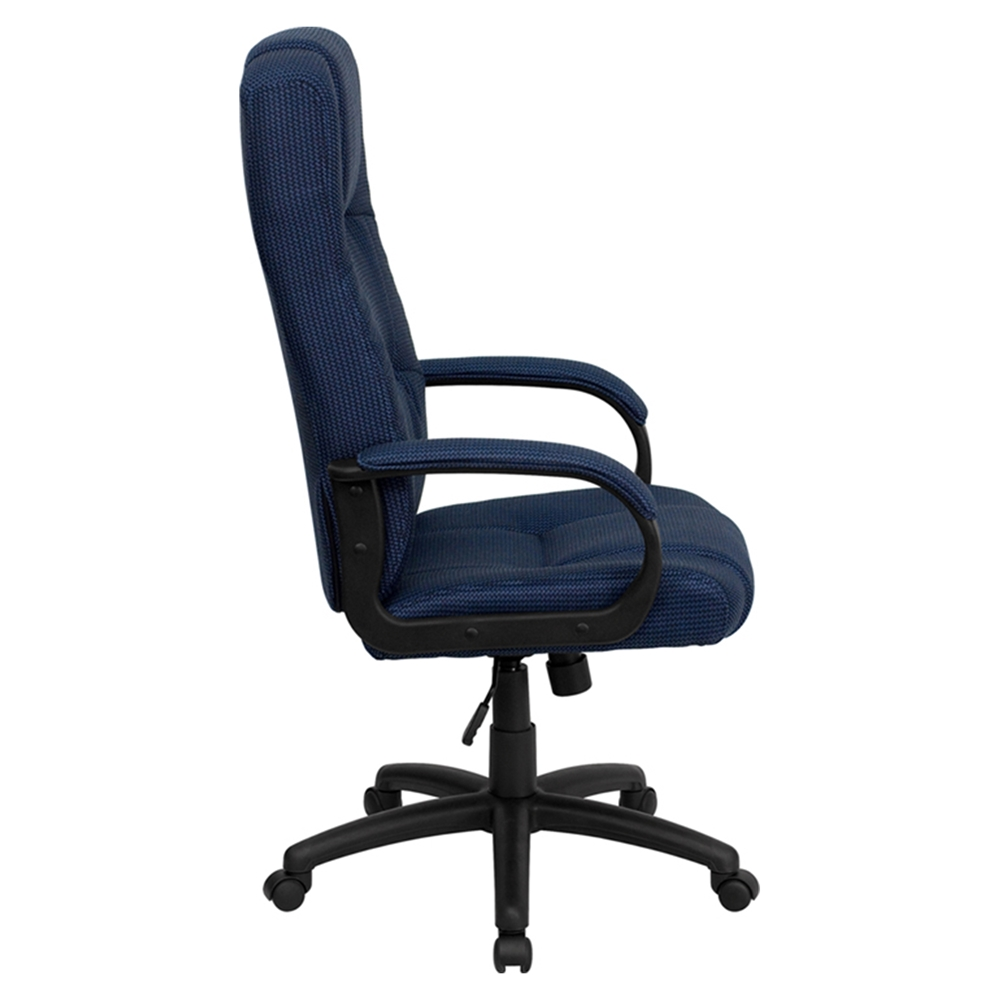Fabric Executive Swivel Office Chair High Back Navy