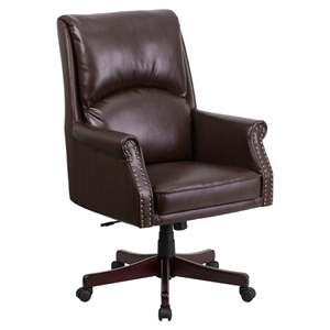Leather Executive Swivel Office Chair - High Back, Pillow Back, Brown