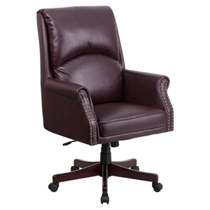 Leather Executive Swivel Office Chair - High Back, Pillow Back, Burgundy