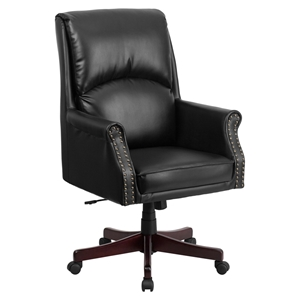 Leather Executive Swivel Office Chair - High Back, Pillow Back, Black