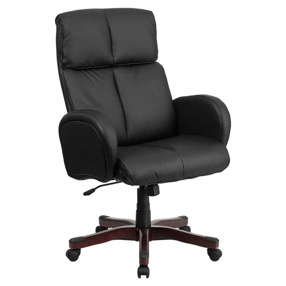 Leather Executive Swivel Office Chair High Back Armrest