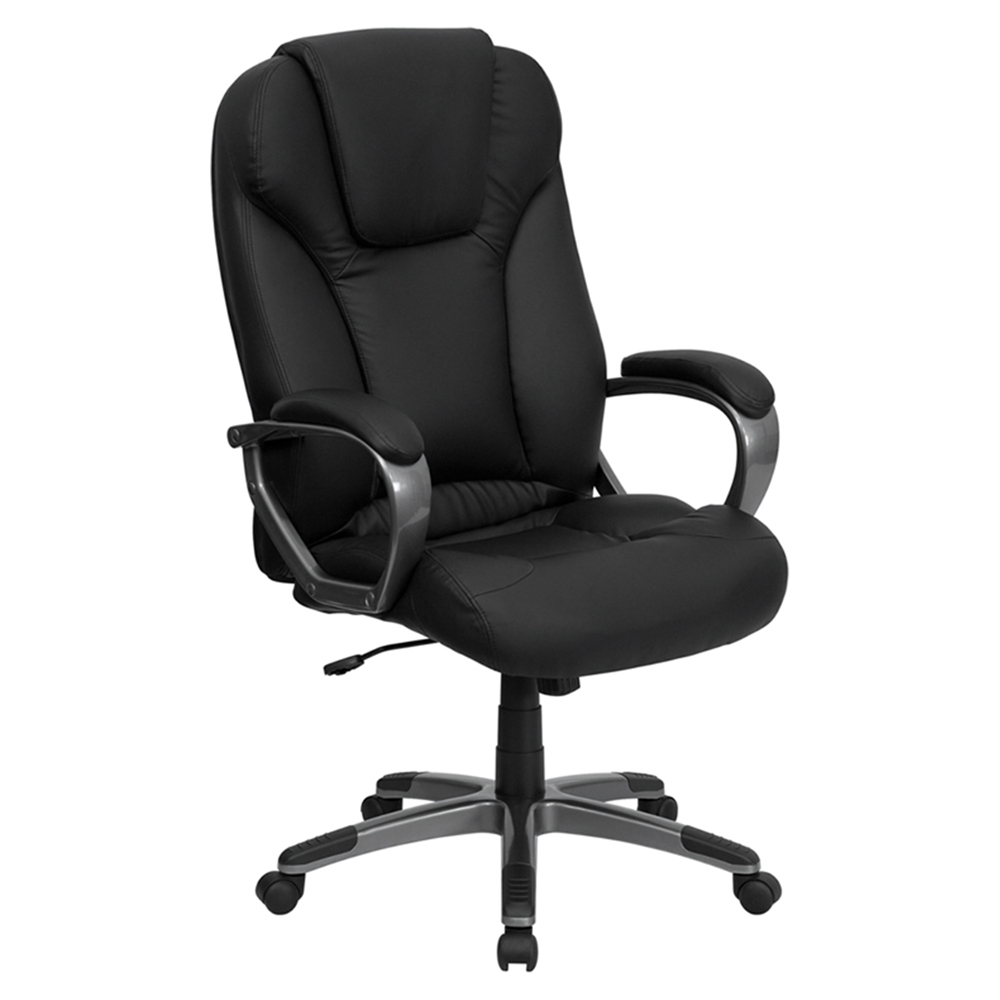 Leather executive office chair high back swivel black High back swivel chair for living room
