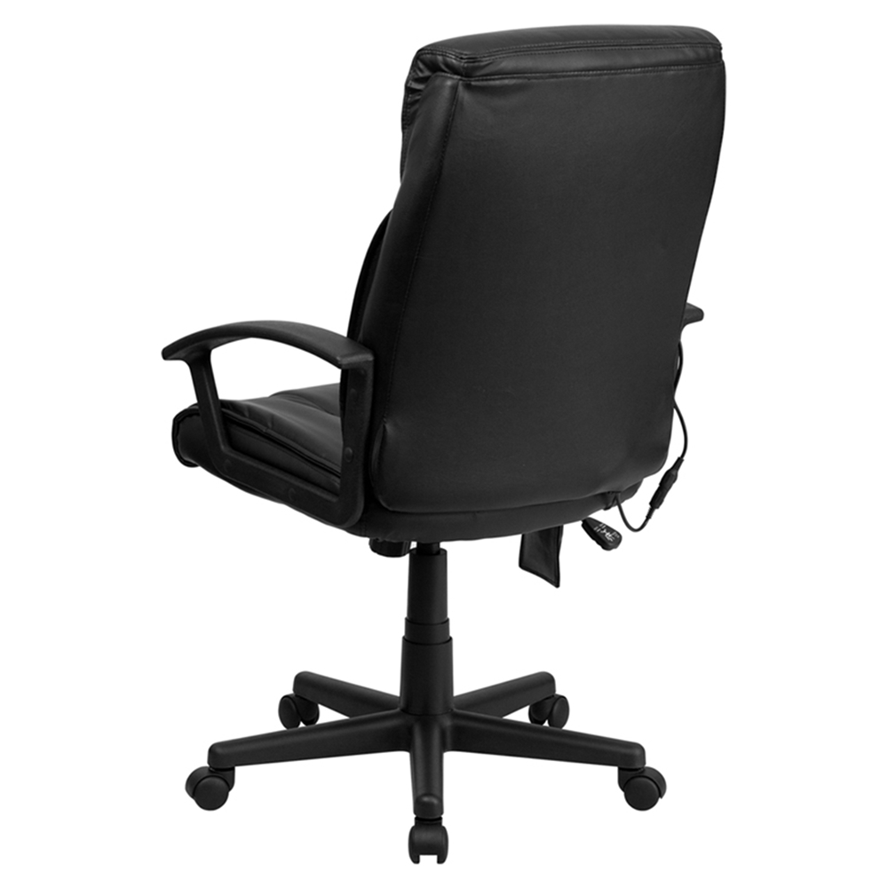 Leather Executive Office Chair High Back Swivel Black DCG Stores