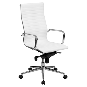 Ribbed Leather Executive Office Chair - High Back, Swivel, White