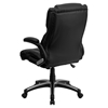 Leather Executive Swivel Office Chair - High Back, Black, Height Adjustable - FLSH-BT-9896H-GG