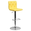 Faux Leather Barstool - Yellow, Button Tufted, Adjustable Height - FLSH-CH-112080-YEL-GG