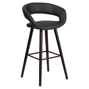 Brynn Series Barstool - Faux Leather, Black