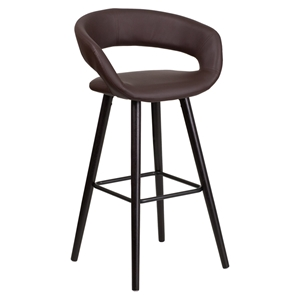 Brynn Series Barstool - Faux Leather, Brown