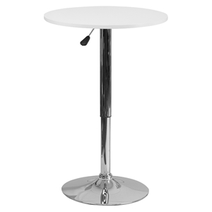 "23.75"" Round Table - White, Adjustable Height"