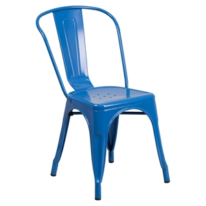 Metal Stackable Chair - Blue