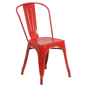 Metal Stackable Chair - Red