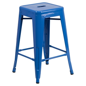 "24"" Metal Stool - Counter Height, Backless, Blue"
