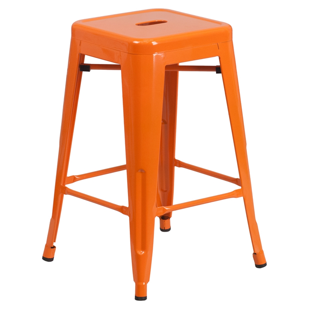 24 Quot Metal Stool Counter Height Backless Orange Dcg