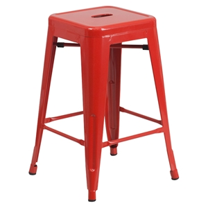 "24"" Metal Stool - Counter Height, Backless, Red"