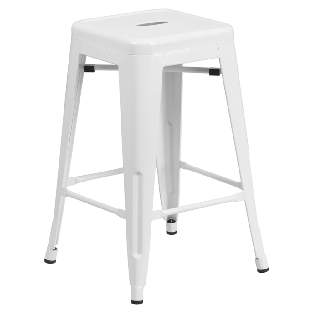 24 metal stool counter height backless white dcg stores. Black Bedroom Furniture Sets. Home Design Ideas