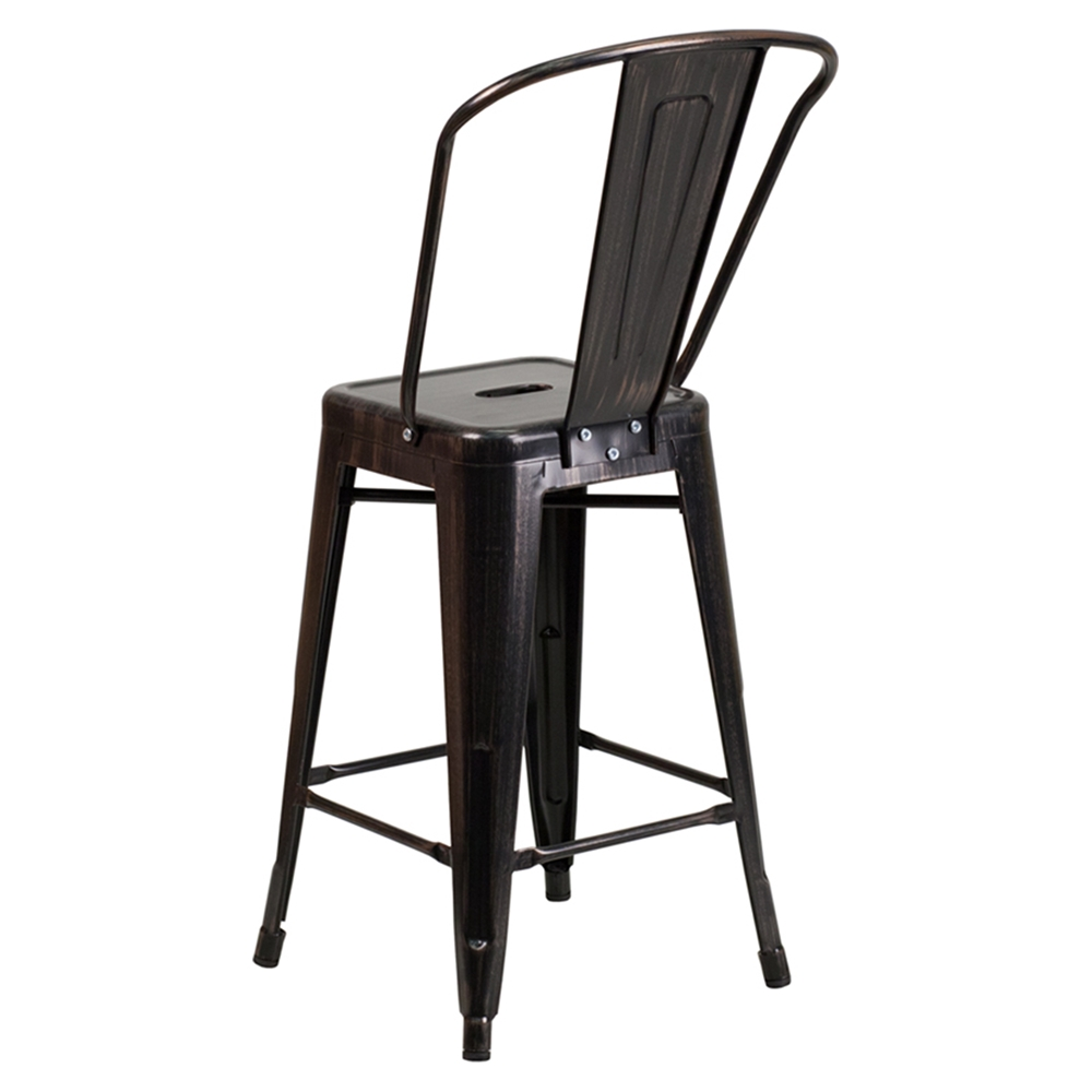24 Quot Metal Stool Counter Height Black Antique Gold Dcg