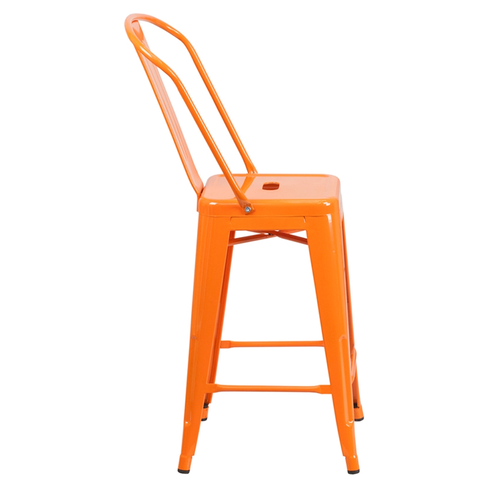 24 metal stool counter height orange dcg stores - Aluminum counter height stools ...