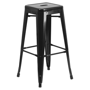 "30"" Backless Metal Barstool - Black"