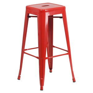 "30"" Backless Metal Barstool - Red"