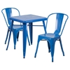 3 Pieces Square Metal Table Set - Stack Chairs, Blue - FLSH-CH-31330-2-30-BL-GG