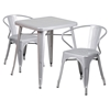 "3 Pieces 23.75"" Square Metal Bar Set - Arm Chairs, Silver - FLSH-CH-31330-2-70-SIL-GG"