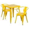 "3 Pieces 23.75"" Square Metal Bar Set - Arm Chairs, Yellow - FLSH-CH-31330-2-70-YL-GG"