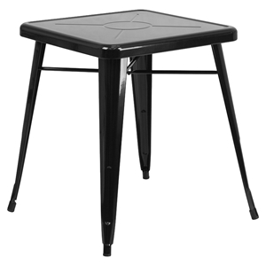 "23.75"" Square Metal Table - Black"