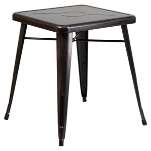 "23.75"" Square Metal Table - Black Antique Gold"