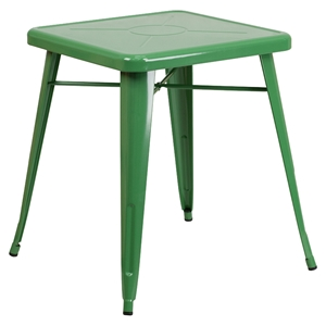 "23.75"" Square Metal Table - Green"