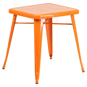 "23.75"" Square Metal Table - Orange"