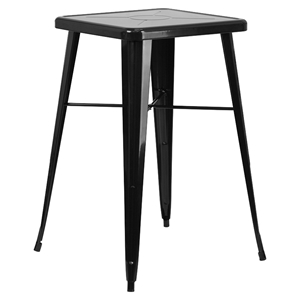"23.75"" Square Metal Table - Bar Height, Black"