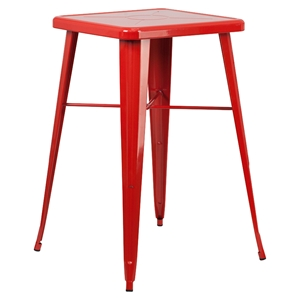 "23.75"" Square Metal Table - Bar Height, Red"