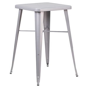 "23.75"" Square Metal Table - Bar Height, Silver"