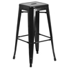 3 Pieces Square Metal Bar Set - Black, Backless Barstools - FLSH-CH-31330B-2-30SQ-BK-GG