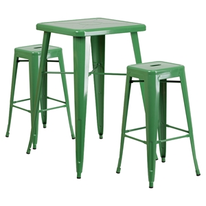 "3 Pieces 23.75"" Square Metal Bar Set - Green, Backless Barstools"