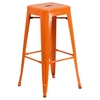 3 Pieces Square Metal Bar Set - Orange, Backless Barstools - FLSH-CH-31330B-2-30SQ-OR-GG